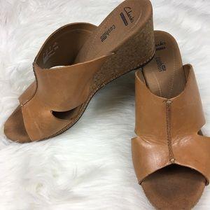 Clark's wedge mule cork sandals 9.5